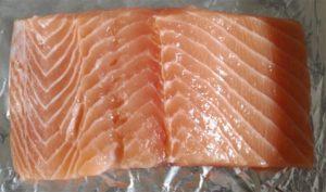 Salmon set in baking tray